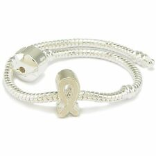 White Enamel Silver Plated Ribbon Support Charm & Bracelet - 7.5 Inches