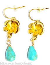 Boucles d'oreilles couleur or fleur Howlite teintée bleu bijou earring