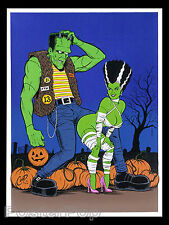 Coop Trick or Treat Silkscreen Art Print Poster Frankenstein Bride Signed Mint
