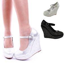 Womens Platform Shoes Rhinestone Studs Wedges #Elida-65