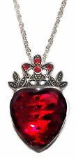 Disney Descendants Princess Evie Red Heart Crown Pendant Chain Necklace