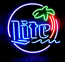 "New Miller Lite Palm Tree Beer Bar Pub Neon Light Sign 19""x15"""