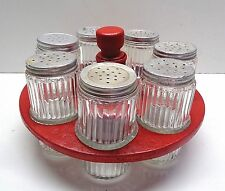 VINTAGE RIBBED GLASS SPICE JARS & RED WOODEN RACK FOR HOOSIER SELLERS CABINET