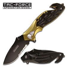 TAC FORCE Skull Heavy Rescue Folder Spring Assist Knife GLASS BREAKER Belt Cutte