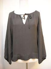 Nili Lotan Silk Tie Scoop Neck Blouse Charcoal Gray size S