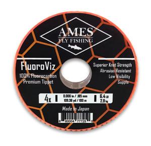 Ames Fly Fishing FluoroViz Premium Fluorocarbon Tippet 100 Meter Guide Spool 4X