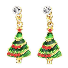 Red & Green Christmas Tree Drop Stud Earrings for Xmas Gift E777