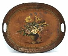 Antique Vintage Toleware Hand Painted Floral Flowers Tin Tole Tray France