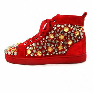 CHRISTIAN LOUBOUTIN Sneakers Red x Silver x Gold Suede Metal Studs Men's US6.5