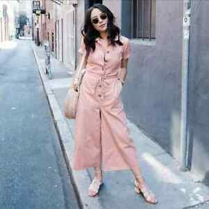 Madewell 10 Wide Leg Utility Jumpsuit Coveralls Pink Dusty Peach Coral G7789 NEW