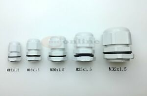 IP68 CABLE GLAND WHITE NYLON WITH NUT & WASHER - M12, M16, M20, M25, M32