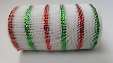 "6"" White with Red and Green Stripes Deco Mesh Ribbon"