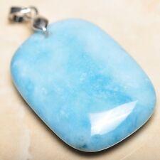 blu caraibi Larimar Diaspro Argento Sterling 925 gancetto 4.4cm CIONDOLO p09045