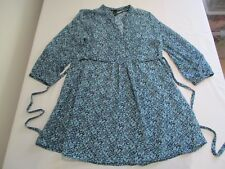 H&M PRETTY SHADES OF BLUE BUSY FUZZY FLOWER PRINT SHORT SLEEVE TUNIC TOP UK 10