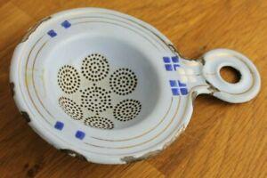 Vintage stunning blue white enamel tea strainer