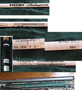 "Vintage 7'6"" SHAKESPEARE CUSTOM WONDER ROD FY708 Fly Fishing Rod w/Sock & Tube"