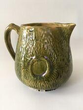 Rare! Antique Green Glaze YellowWare Faux Bois / Wood Grain Pitcher with Knots