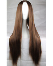 Women's Long Straight Hair Full Wig Heat Resistant Cosplay Wig No bangs+Wig Cap
