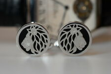 Carrera Y Carrera Lion 3D 18k white gold over Onyx cufflinks