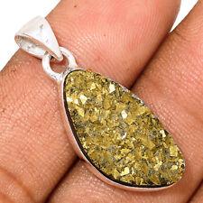 Peruvian Golden Pyrite 925 Sterling Silver Pendant Jewelry AP169384