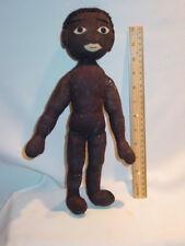 Folk Art Black Cloth Rag Doll 14H  Circa 1920