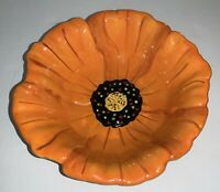 """Clay Art Poppies Hand Painted Candy/Nut/Dip Bowl, 6"""" Wide, Bright Orange Poppy"""