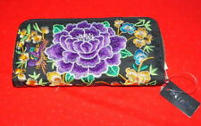 Floral Embroidery Clutch Wallet Zip Around Purple Embroidery $10.- NWT Free/Ship