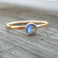 Blue Fire Rainbow Moonstone Ring, 14K Yellow Gold Wedding Gift Size 7 Ring