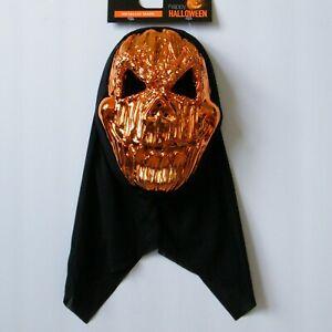 Happy Halloween Metallic Skull Mask Copper Attached Hood Adult Novelty Costume