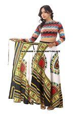 African Skirt Dashiki Print Womens High Waist Wrap Around Skater Long Maxi Dress