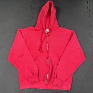 Vintage 90s Fruit of the Loom Full Zip Hooded Sweatshirt Jacket Medium Pink USA