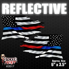 REFLECTIVE Thin RED/BLUE Line TATTERED Flag MIRRORED Stickers Vinyl Police Decal