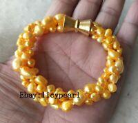Neu Süßwasser Perle Armband, 3 Stränge 6-9 mm Gelb Barock Perle Armband