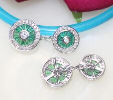2.05ct Natural Round Diamond 14k White Gold Emerald Gemstone Mens Cufflinks