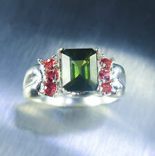 1,85 CT NATURALE VERDE TORMALINA & Rosso SAPPHIRE 925 SILVER RING