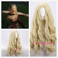 The Elder Scrolls V:Skyrim cosplay Long wavy Curly Blonde Cosplay Wig +a wig cap