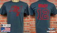 TAMPA BAY BUCCANEERS  TOM BRADY ***GOAT LOGO*** DOUBLE SIDED JERSEY T-SHIRT