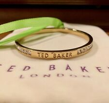 NEW Ted Baker Clem Narrow Goldtone Plated Crystal Bangle with Pouch