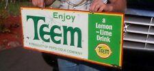 Vintage Team Lemon Lime Pepsi Soda Pop Metal Sign W/ Fruit Graphic 32X13