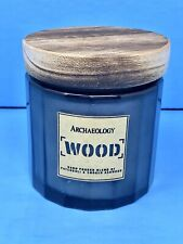 Archaeology Large WOOD Scented Candle Glass Jar Lid Patchouli Ashwood Candle NEW