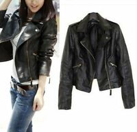 Vintage Women Slim Biker Motorcycle PU Soft Leather Zipper Jacket Coat Top Lot