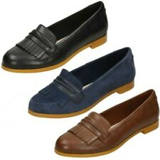 Ladies Clarks Andora Crush Fringe Trim Loafer Flats