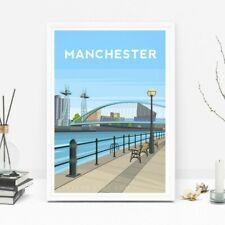 Manchester Art Print, Salford Quays Travel Poster England, Original Illustration