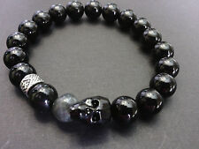 Jet Black Crystal Skull Genuine Onyx  Labradorite  Baby Chrome King Bracelet