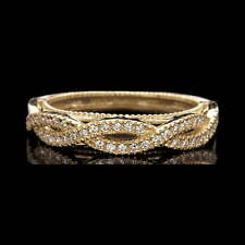 0.48ct Brilliant Created Diamond Ring Solid 14K Yellow Gold Open Ornate Band Sz7