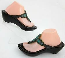 Donald J Pliner 'CeCe' Thong Wedge Sandals Hand Beaded Turquoise Brown 10M