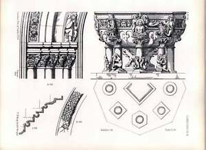 Gothic Limburg Church Section Of Moulding Western Doorway Details Capitals Font