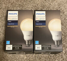 2X Philips Hue White A19 60W Equivalent Single LED Light Bulb - Alexa Compatible