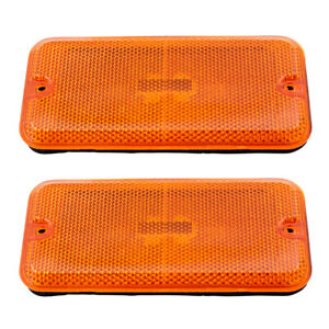Pair Set Front Signal Side Marker Lights w/ Housing for 1985-1996 Chevy GMC Van