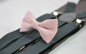 Blush Dusty Pink Velvet Bow tie +Grey Gray Elastic Suspenders Men /Youth / Boy